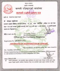 Certificate of incorporation Company  » Click to zoom ->