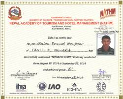 Trek Guide License from Ministry of Tourism.  » Click to zoom ->